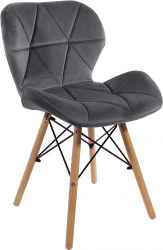 LEOBERT Krzesło ELVA aksamitne tapicerowane - szare