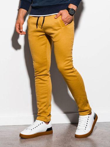 Ombre Spodnie męskie dresowe P866 - żółte L