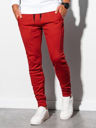 Ombre Spodnie męskie dresowe P867 - czerwone XL