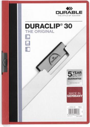 Durable Skoroszyt Zaciskowy A4 / 30 kartek Czerwony