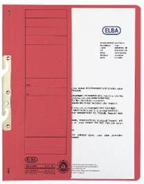 Elba Skoroszyt kartonowy hakowy, A4, połówkowy,  czerwony  (EB5241)