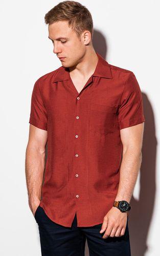 Ombre Koszula męska z krótkim rękawem K561 - ceglasta M
