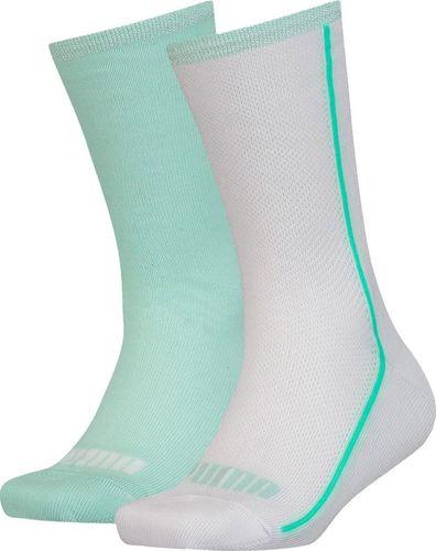 Puma Skarpety dla dzieci Puma Mesh Sock 2 pary białe, miętowe 907628 01 : Rozmiar - 35-38