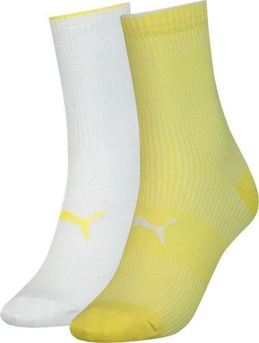 Puma Skarpety damskie Puma Sock Structure 2 pary białe, żółte 907622 04 : Rozmiar - 39-42