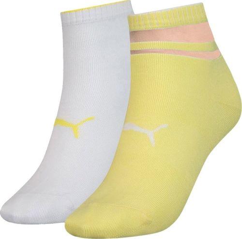 Puma Skarpety damskie Puma Sneaker Structure 2 pary białe, żółte 907621 04 : Rozmiar - 35-38