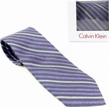 Calvin Klein Krawat MĘSKI fioletowy W PASKI