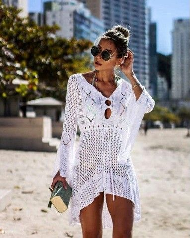 Alexiss Letnia ażurowa tunika na plaże boho