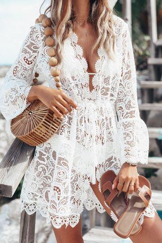 Alexiss Letnia plażowa tunika piękna biała koronka boho
