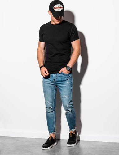Ombre T-shirt męski bez nadruku S884 - czarny M