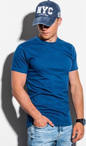 Ombre T-shirt męski bez nadruku S884 - granatowy V XXL