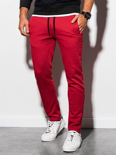 Ombre Spodnie męskie dresowe joggery P866 - czerwone XL