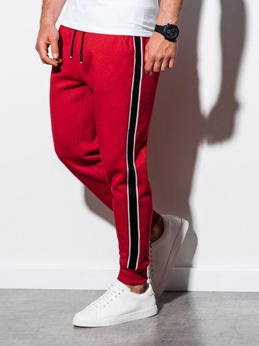 Ombre Spodnie męskie dresowe P898 - czerwone XL