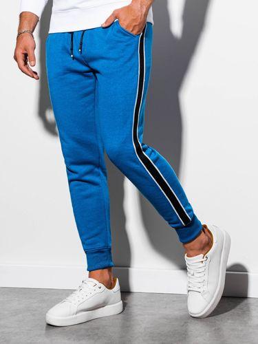 Ombre Spodnie męskie dresowe P898 - niebieskie L