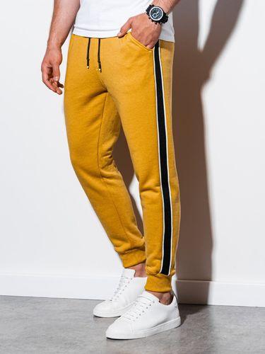 Ombre Spodnie męskie dresowe P898 - żółte XXL