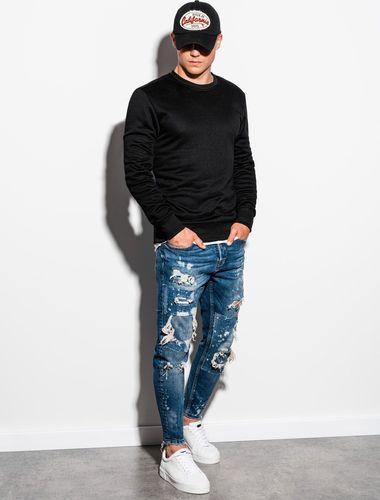 Ombre Bluza męska bez kaptura B978 - czarna XL (16111-6) - 16111-6