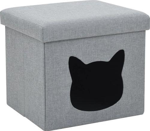 vidaXL Składane legowisko dla kota, sztuczny len, 37x33x33 cm, szare