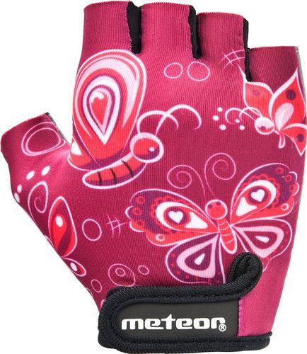 Meteor RĘKAWICZKI ROWEROWE METEOR JUNIOR PINK BUTTERFLIES M