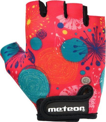 Meteor RĘKAWICZKI ROWEROWE METEOR JUNIOR PINK ABSTRACT S
