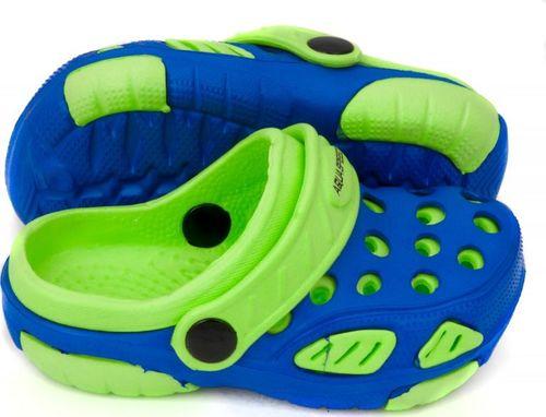 Aqua-Speed Klapki dziecięce basenowe, na plażę, chodaki LIDO niebiesko-zielone Aqua-Speed Rozmiar 20