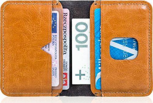 Solier Cienki skórzany portfel męski Solier SW11 jasnobrązowy