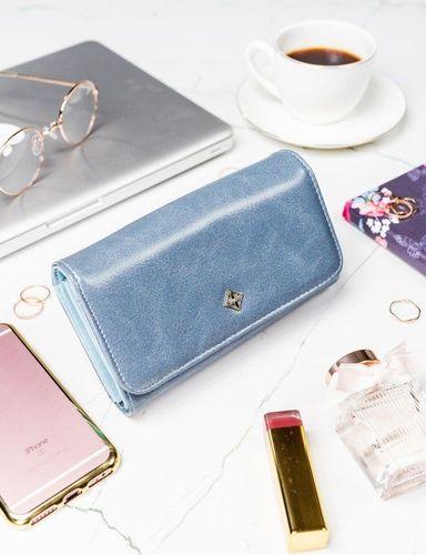 Milano Design Stylowy portfel damski Milano Design niebieski