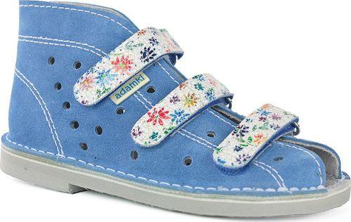 Adamki Obuwie dziewczęce Adamki 012 profilaktyczne błękitny kwiatki 24