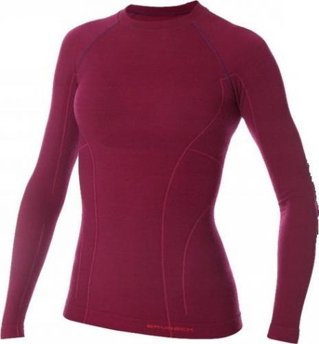 Brubeck Koszulka damska Active Wool śliwkowa r. S (LS12810)