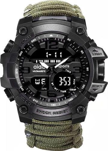 Zegarek Naviforce Surviwalowy militarny z bransoletką Paracord wodoodporny do 30M zielony (1002)