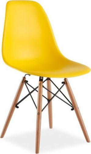 Signal Krzesło ENZO żółte plastikowe do jadalni i salonu SIGNAL