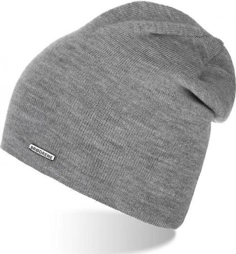 Brdrene Damska czapka smerfetka zimowa szara CZ20 BRDRENE uniwersalny