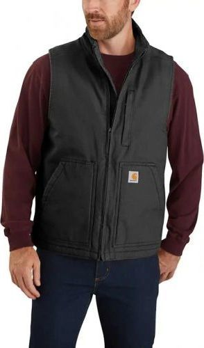 Carhartt Kamizelka Carhartt Washed Duck Sherpa-Lined Mock-Neck Vest BLACK
