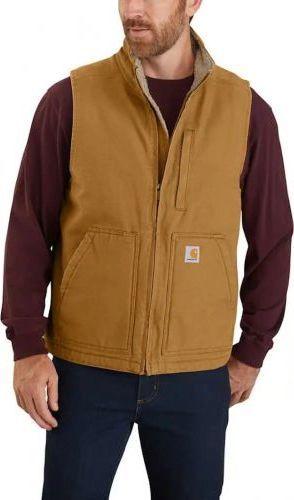 Carhartt Kamizelka Carhartt Washed Duck Sherpa-Lined Mock-Neck Vest CARHARTT BROWN