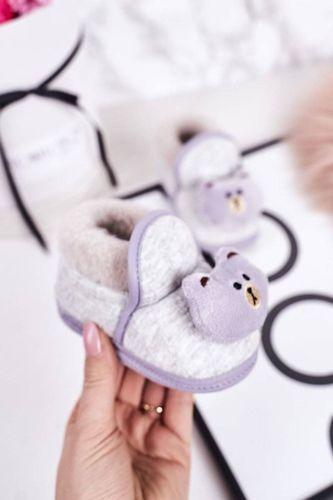 Dziecięce Papcie Na Gumce Z Misiem Szare Pooh 6-12 miesięcy