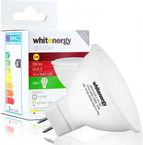 Whitenergy Żarówka LED, GU5.3, 3W, 12V, 200lm, 3000K, biała ciepła (10126)