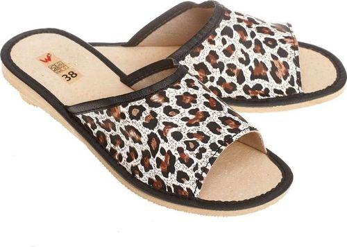 Wójciak Pantofle skórzane, domowe w modną panterkę pw88 36