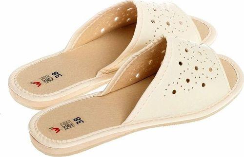 Wójciak Wsuwane, przewiewne, płaskie pantofle góralskie pw134 kremowy 36