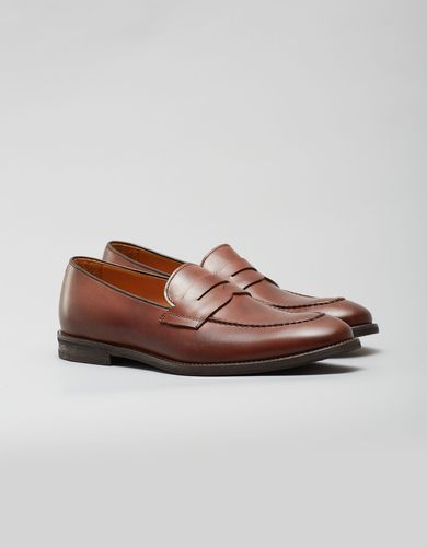BORGIO Jasnobrązowe buty penny loafers b008 brown9 rozmiar 45