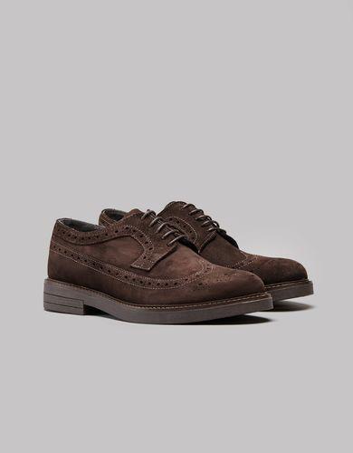BORGIO Ciemnobrązowe zamszowe męskie buty brogsy b200 rozmiar 44