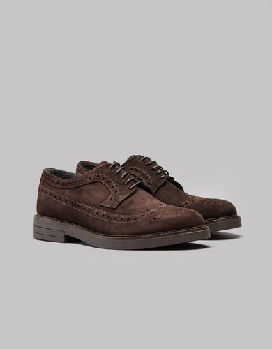 BORGIO Ciemnobrązowe zamszowe męskie buty brogsy b200 rozmiar 40