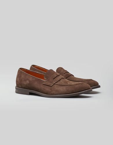 BORGIO Jasnobrązowe zamszowe buty penny loafers b007 brown8 rozmiar 44