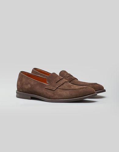 BORGIO Jasnobrązowe zamszowe buty penny loafers b007 brown8 rozmiar 45