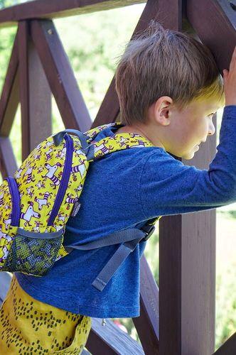 Hugger Plecaczek dla dzieci Hugger, Totty Tripper Small, wiek 1-3 lat, wzór Yellow Purple Dogs