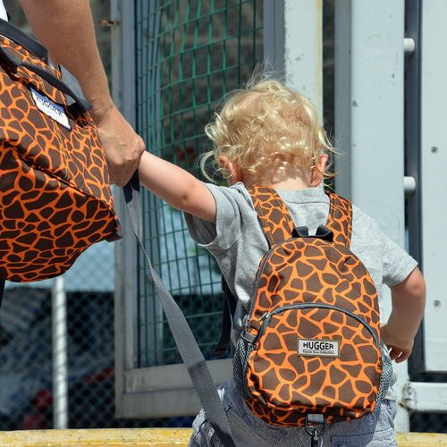 Hugger Plecaczek dla dzieci Hugger, Totty Tripper Small, wiek 1-3+ lat, wzór My Giraffe is Orange
