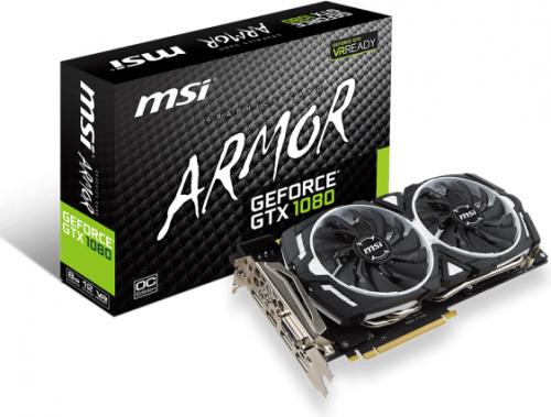 Karta graficzna MSI GeForce GTX 1080 ARMOR OC 8GB GDDR5X (256 bit) 3x DP, HDMI, DVI-D, BOX (GeForce GTX 1080 ARMOR 8G OC)