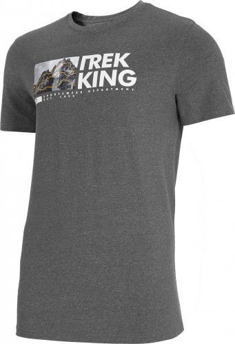 4f T-shirt męski H4L21-TSM060 średni szary melanż r. L