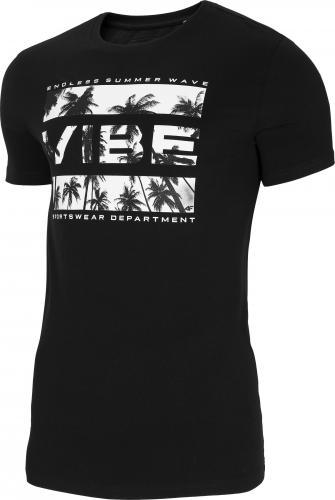 4f T-shirt męski H4L21-TSM026 głęboka czerń r. L