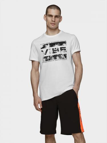 4f T-shirt męski H4L21-TSM026 biały r. L