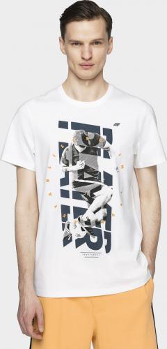 4f T-shirt męski H4L21-TSM011 złamana biel r. L