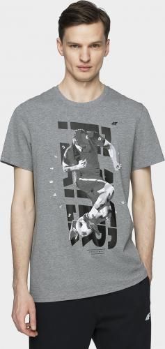 4f T-shirt męski H4L21-TSM011 szary melanż r. XL