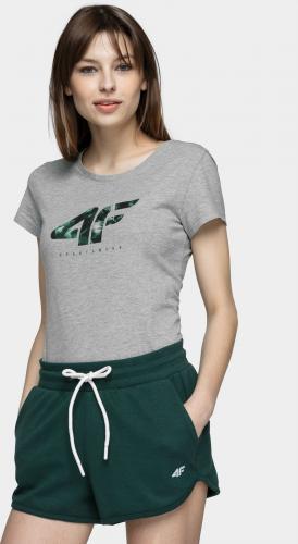4f T-shirt damski H4L21-TSD030 chłodny jasny szary melanż r. S